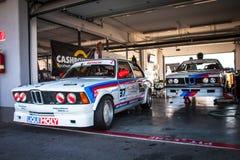 Klassiska BMW tävlings- bilar Royaltyfria Foton