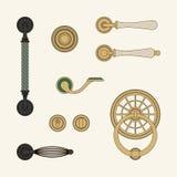 Klassiska dörrhandtag royaltyfri illustrationer