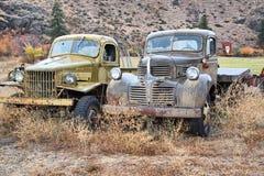 Klassiska gammala uppsamlingslastbilar Arkivbild