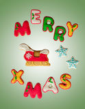 Klassiska hemlagade kakor för glad jul för pepparkaka Royaltyfria Bilder