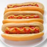 klassiska hotdogs tre Fotografering för Bildbyråer