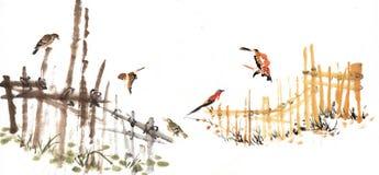 Klassiska Kina-- galler och fågel Arkivbild