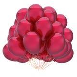 Klassiska röda ballonger lycklig födelsedag, årsdag, glansig partigarnering Royaltyfri Foto