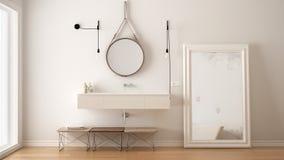 Klassiskt badrum, modern minimalistic inredesign royaltyfri foto
