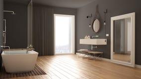 Klassiskt badrum, modern minimalistic inredesign arkivbild
