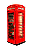 Klassiskt brittiskt purpurfärgat telefonbås i London UK som isoleras på vit fotografering för bildbyråer
