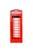 Klassiskt brittiskt rött isolerat telefonbås royaltyfri bild