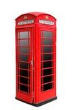 Klassiskt brittiskt rött telefonbås i London UK som isoleras på vit Royaltyfria Bilder