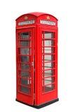 Klassiskt brittiskt rött telefonbås i London UK som isoleras på vit Arkivbild