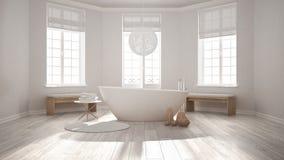 Klassiskt brunnsortbadrum för Zen med badkaret, minimalist scandinavian I stock illustrationer