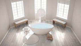 Klassiskt brunnsortbadrum för Zen med badkaret, minimalist scandinavian I royaltyfri fotografi