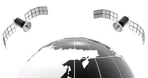 Klassiskt bw-jordklot med satellit 2 Arkivfoton