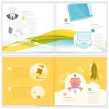 Klassiskt fallstudiehäfte: broschyrdesignmall för affär med begreppssymboler Arkivbild