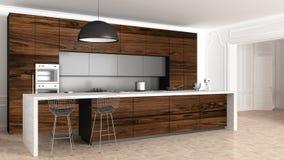 Klassiskt kök i tappningrum med stöpningsväggen, lyxig inre arkivbilder