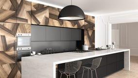 Klassiskt kök i tappningrum med stöpningsväggen, lyxig inre arkivfoton