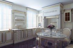 Klassiskt köksskåp i Provence tappningstil royaltyfri foto