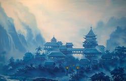 Klassiskt kinesiskt landskap royaltyfria bilder