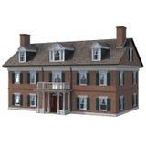 Klassiskt kolonialt tegelstenhus som isoleras på vit illustration 3d arkivbild