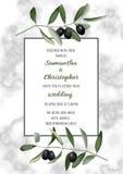 Klassiskt kort för marmorbröllopinbjudan med Olive Brunches Royaltyfria Bilder