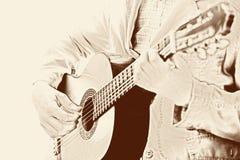 klassiskt leka för gitarrman arkivbilder