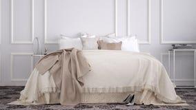 Klassiskt sovrum med gamla tappningtegelplattor för marmor arkivbild