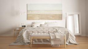 Klassiskt sovrum, scandinavian modern stil, minimalistic interio arkivbild