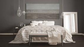 Klassiskt sovrum, scandinavian modern stil, minimalistic interio royaltyfri foto