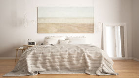 Klassiskt sovrum, scandinavian modern stil, minimalistic interio arkivfoto