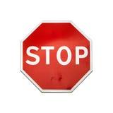 Klassiskt stoppvägmärke som isoleras på vit arkivfoto
