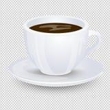 Klassiskt svart kaffe i en vit kopp med ett tefat som isoleras på en genomskinlig bakgrund Favorit- morgondrink Vektor Illustrati vektor illustrationer