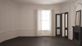 Klassiskt töm rum med det stora fönstret, spisen och fiskbensmönstret wo royaltyfri foto