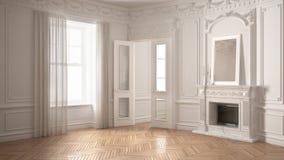 Klassiskt töm rum med det stora fönstret, spisen och fiskbensmönstret wo vektor illustrationer
