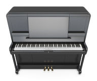 Klassiskt upprätt piano på en vit Fotografering för Bildbyråer