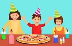 Klasskompisar som firar den plana illustrationen för födelsedag stock illustrationer