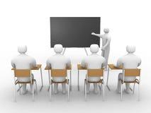 klassrum 3d med lärare. Vektor Illustrationer