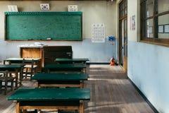 Klassrum för gammal skola i den Jangsaengpo byn från 60-tal till 70-tal, Korea Arkivfoton