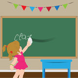 Klassrum med ett bräde och en flicka Arkivfoto