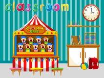 Klassrum med leken och hjälpmedel vektor illustrationer