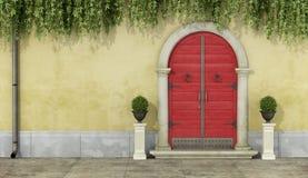 Klasyczna fasada z czerwonym drzwi ilustracja wektor