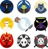 Klasyczna Halloweenowa potwór odznaka, emblemata set/ Zdjęcie Royalty Free