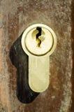 Klasyczna nowożytna złota kluczowa dziura na metalu drzwi zakończeniu w górę selekcyjnej ostrości vertical Fotografia Stock