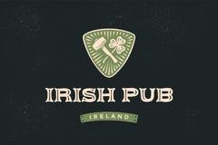 Klasyczna retro projektująca etykietka dla Irlandzkiego pubu Fotografia Royalty Free