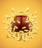 Klasyczna rocznik kiesa z złocistych monet pieniądze Zdjęcia Stock