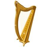 Klasyczna złocista błyskotanie harfa, kreskówka styl Zdjęcia Stock