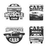Klasycznego mięśnia samochodowego rocznika wektorowe etykietki, logo, emblematy, odznaki royalty ilustracja