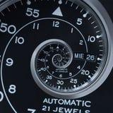 Klasycznego nowożytnego czerni srebra zegarowego zegarka abstrakcjonistycznego fractal surrealistyczna spirala Zegarek tekstury w Zdjęcie Royalty Free