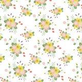 Klasycznego rocznika Różowy i Żółty kwiatu wzór w Białym tle Obraz Stock