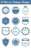 12 Klasycznej rocznik odznaki (Błękitnej) Obrazy Stock
