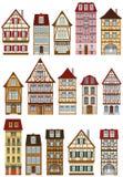 Klasyczni europejczyków domy ilustracja wektor