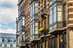 Klasyczni europejczyka domu przody w starej części Bruksela Zdjęcie Royalty Free